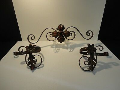Antique Cast Metal Ornate Curtain Rod Adornments center and tie backs