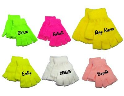 Children's Boys Girls Personalise Name Neon Colourful Finger less Gloves 3-16 YR