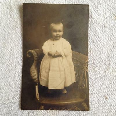Early 1900s RPPC Real Photo Postcard of Child Infant in white Christening Outfit