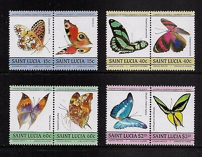 ST LUCIA 1985 Leaders of the World, Toombs, Butterflies, mint set pairs, MNH MUH