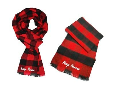 New Children' Boys Girls Personalise Black Red Check Tartan Scarf Kids One Size