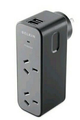 Belkin Surge Protector Travel Flip Black 2 Outlet 2 Usb 1.6 Amp New Bv002050Aucw