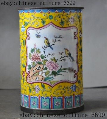 """5""""Marked old Chinese bronze Cloisonne Magpies Flowers brush pot pencil vase"""