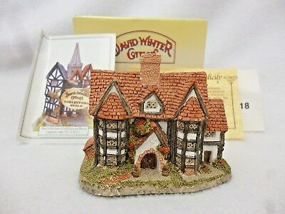 David Winter Cottages Shirehall John Hine Ltd 1985 In Original Box + Coa