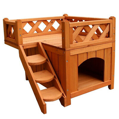 Dog Puppy Pet House Wooden Room with Roof Balcony Bed Shelter Outdoor & Indoor