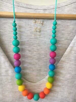 Silicone Necklace for Mum Jewellery Beads Sensory (was Teething)Aus Rainbow Gift