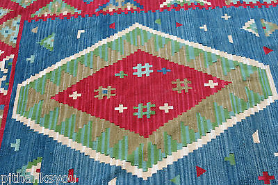 Colorful Kalim Woven Rug 5' x 7.5' Blue, Red Green and White