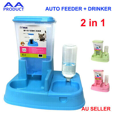 2 in 1 Pet Dog Cat Auto Feeder + Drinker Food Water Bowl Dispenser Drinking