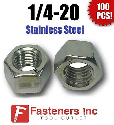 "(Qty 100) 1/4-20 Stainless Steel Finished Hex Nuts 304 / 18-8 1/4""-20"