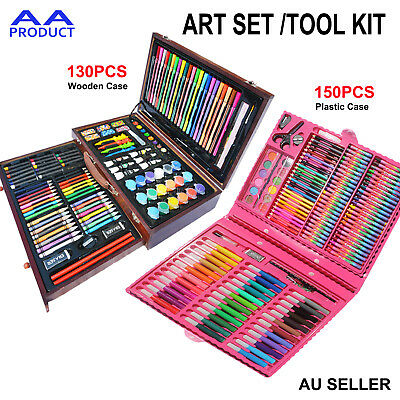 Complete Paint Drawing Coloring Art Set Kit Box Mixed Crayon Watercolor Brush