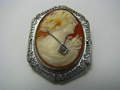 """SEASHELL CAMEO BROOCH """"Lady Wearing Silver Necklace"""" STERLING SILVER FRAME 1950s"""