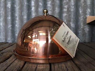 UNUSED VINTAGE In Box SOLID COPPER DOMED LID SERVER Glossy