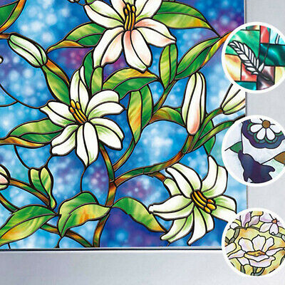 Static Cling Stained Flower Window Film Glass Privacy Home Decor 45x100cm 1 x