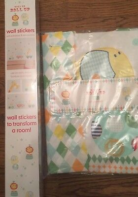 Mothercare Roll Up  Roll Up  Pack Of 2 Cot Pockets And Wall Stickers. Bnip
