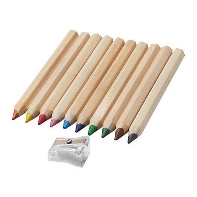 Coloured Pencils  Water Soluble  10 Pencils and Sharpener Ikea MALA