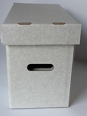 2 x MAGAZINE SIZE STORAGE BOXES AND LIDS.  OYSTER WHITE, HIGH QUALITY