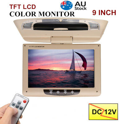 9'' Screen Flip Down Roof Mount Monitor Overhead TFT LCD Car DVD HDMI Player 12V