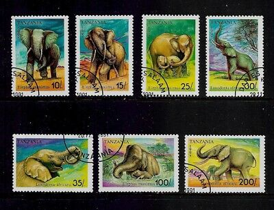 TANZANIA 1991 Elephants, set of 7, CTO