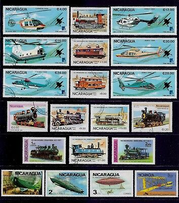 NICARAGUA mixed collection No.10, Transport, incl Helicopters, Trains, Zeppelins