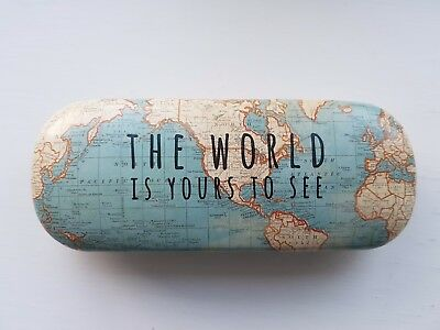 Vintage Map Hard Case Glasses Case - Plus With Love Gift Tag