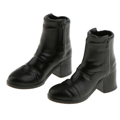 1/6th Black Ankle Boots Shoes for 12'' Hot Toys Phicen Kumik Figure Clothes