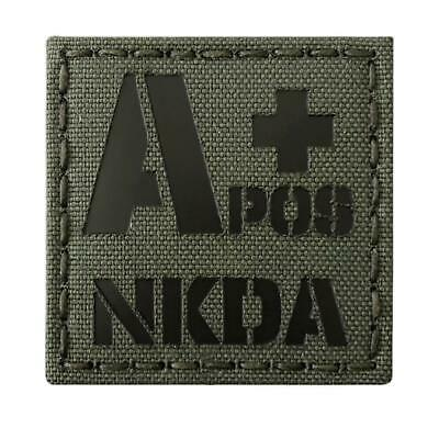 Blood Type APOS A+ NKDA infrared olive drab OD green morale laser hook patch
