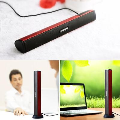 USB Stereo Speakers Built-in Sound Card Sound Bar for Laptop PC Notebook Red US
