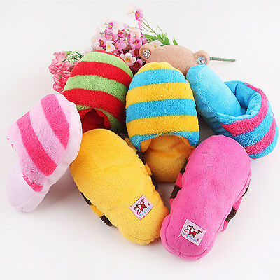 Dog Cat Toy Pet Puppy Chew Play Squeaker Squeaky Sound Plush Slipper Shape