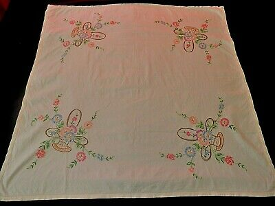 "VINTAGE HAND EMBROIDERED  TABLE CLOTH - 32"" by 32""  CREAM"