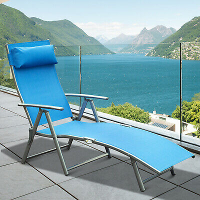 Outsunny Lounger Chaise Reclining Chair Tri-Fold Portable Beach Blue