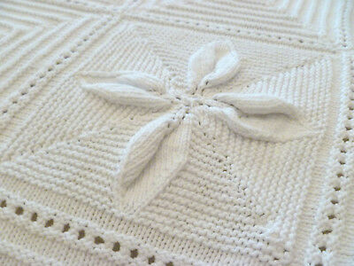 Antique~French~Country~Cottage~Victorian~c1900~White~Knit~Bed~Coverlet~Throw