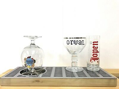 Rinser for beer glass with drip tray