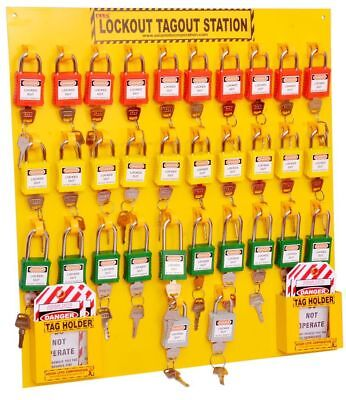 Lockout Tagout Safety Open Padlock Station with Material - 64 Padlock