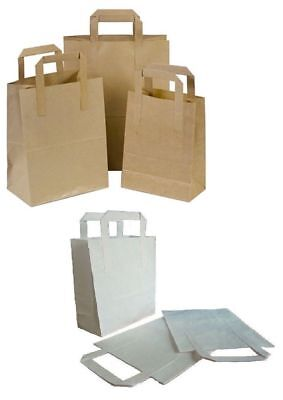 Kraft Paper SOS Carrier Bags White Brown With Flat Handles Takeaway Gift Party