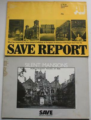 Architects' Journal 1975 + Country Houses at Risk SAVE BRITAIN'S HERITAGE 1981