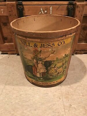 Antique Pail Bucket With Label - Nill & Jess Co Watertown New York NY Bakery