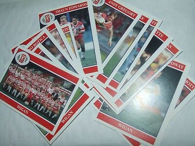 14 x WIGAN   MERLIN Rugby League Cards 1990's