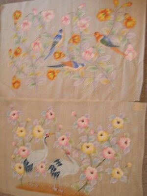 """PAIR of large, stunning, vintage CHINESE gouache """"Exotic birds in fauna"""""""
