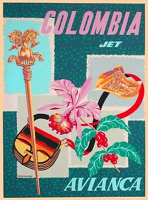 Colombia Colombian South America Avianca Jet Travel Advertisement Poster