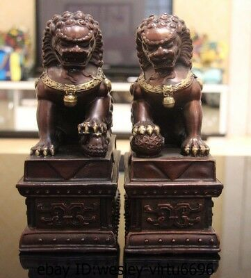 China Old Bronze Copper Fengshui Guardian Door Foo Dog Lion Son Bead Statue Pair