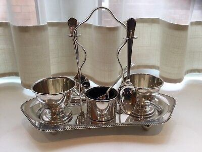 Beautiful Vintage  Silver Plated Footed Egg Cup Holder And Spoons