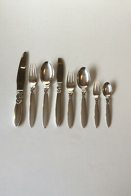 Georg Jensen Sterling Silver Cactus Flatware Set for 12 People. 96 Pieces