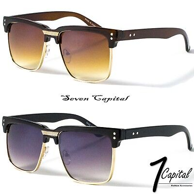 Mens Womens Clubmaster Square Shades Gold Frame Retro Vintage Summer Sunglasses