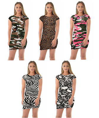 Ladies Womens Short Sleeve Printed Bodycon Sexy Stretch Mini Dress Plus Size8-22