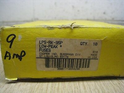 BOX OF 10 NEW  Bussmann LPS-RK-9SP 9A 600V Fuses Class RK1 FREE SHIPPING