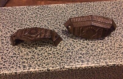 2 Cast Iron Drawer Pull Antique Vintage Grocery Store Potato Bin Wood Cabinet
