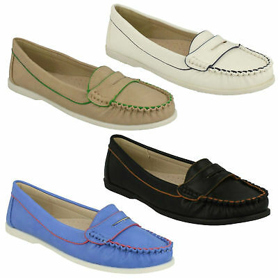 LADIES SPOT ON F8R968 FLAT SLIP ON BOW TRIM MOCCASINS LOAFERS EVERYDAY SHOES