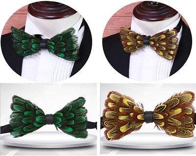 Mens Womens Custom Feather Bow Tie Fancy Dress Personalized Cravats Gift