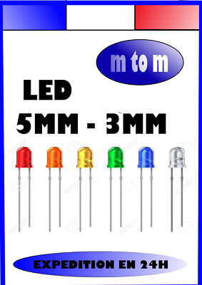 LED Jaunes Blanche Orange Verte Rouge Bleu Oranges 5mm 3mm Arduino lumineuse