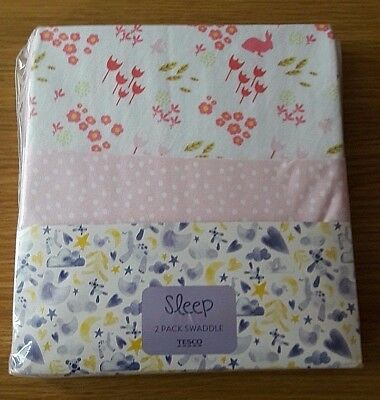 Ex store 2 pack baby girls swaddle wraps 100% cotton jersey Brand New in Packet